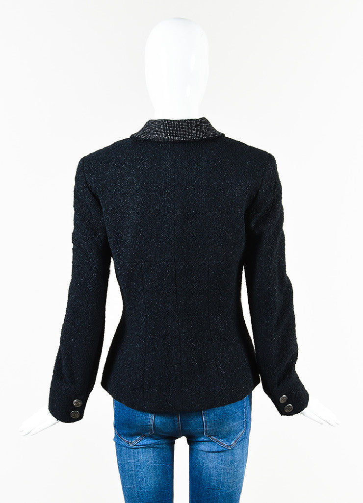 Chanel Black Textured Knit 'CC' Logo Button Jacket Backview