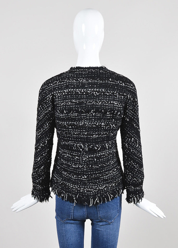 Black and White Chanel Tweed Two Button Jacket Backview