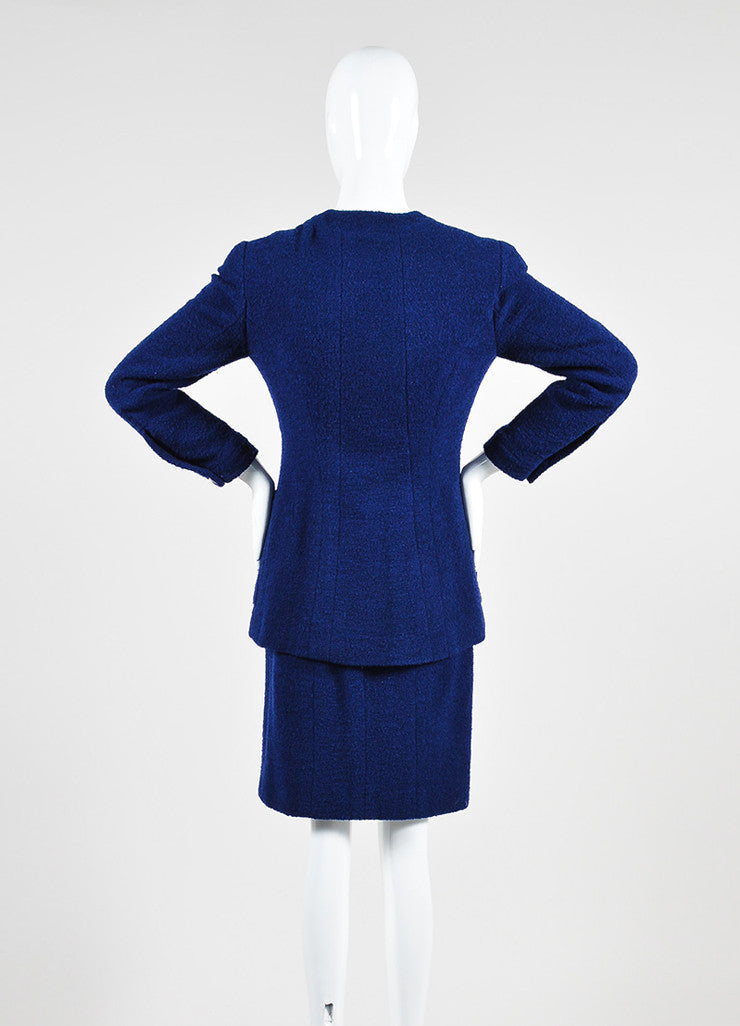 Blue Chanel Tweed Double Breast Jacket and Skirt Suit Backview