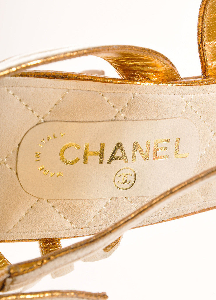 Chanel New In Box White and Bronze Suede Metallic Leather Strappy Sandal Heels Brand