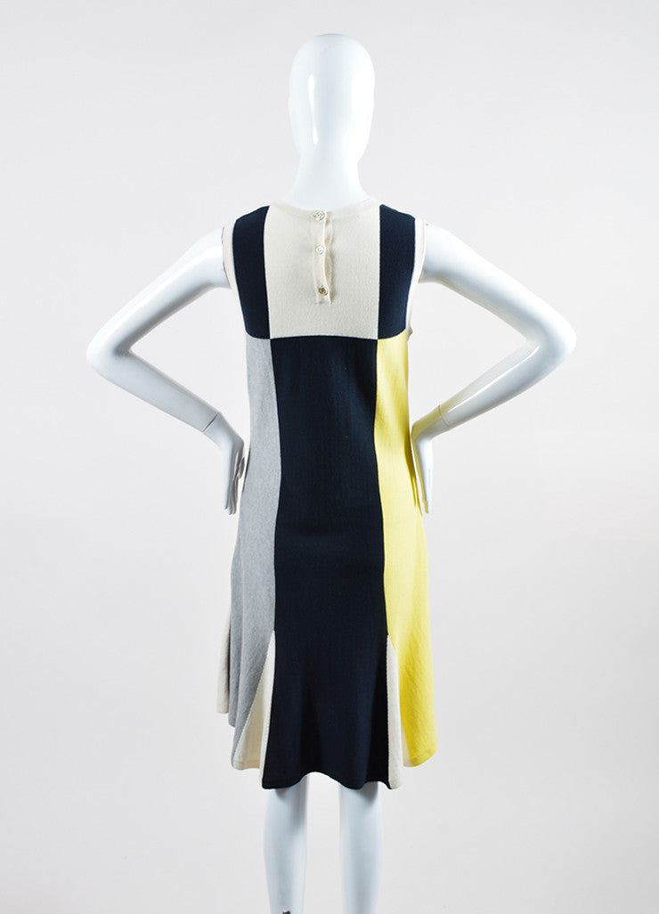 Yellow, Blue, and Grey Chanel Cotton and Cashmere Blend Sleeveless Knit Dress Backview