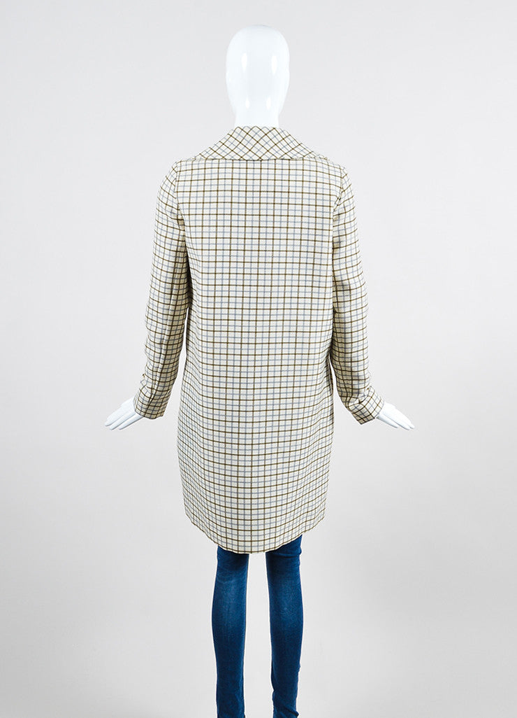 Cream, Green, and Blue Chloe Wool Woven Check Button Long Coat Backview