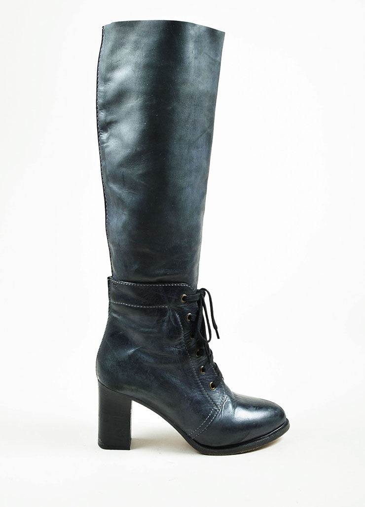 Grey Chloe Leather Lace Up Knee High Stacked Heel Boots Sideview