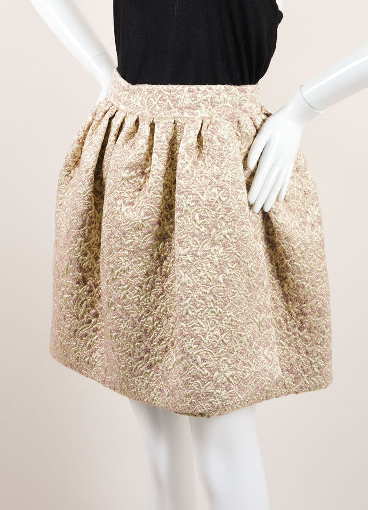 Christian Dior Gold, Silver, and Mauve Wool and Silk Metallic Brocade Wrap Skirt Sideview