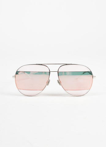 "Christian Dior Silver Toned, Pink, and Teal Frosted Stripe ""Split 2"" Aviator Sunglasses Frontview"