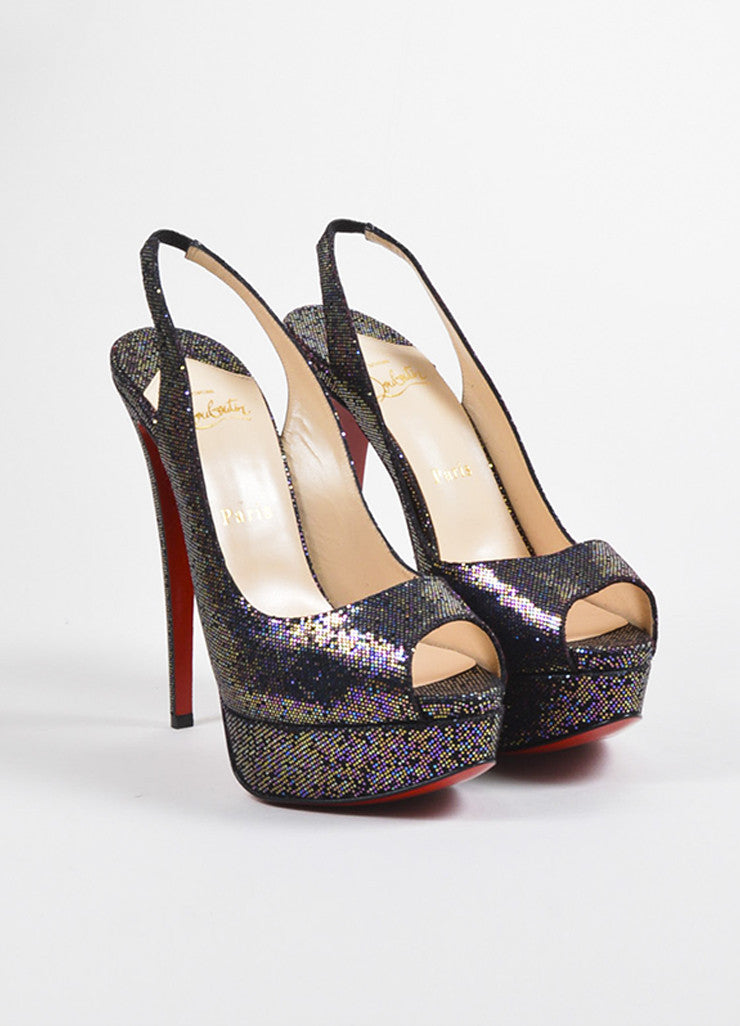 "Christian Louboutin Multicolor Glitter ""Lady Peep"" Slingbacks Frontview"