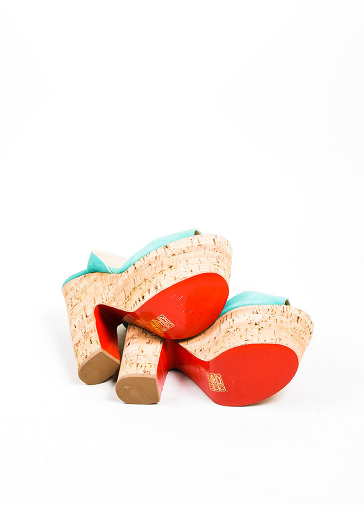 "Teal Christian Louboutin Suede Cork ""Super Dombasle"" Sandals Outsoles"