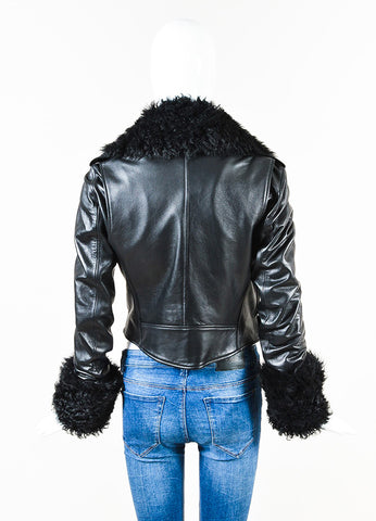 Christopher Kane Black Leather Shearling Trim Moto Jacket Back