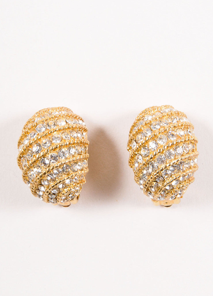 Ciner Gold Toned Cable Rhinestone Embellished Earrings Frontview