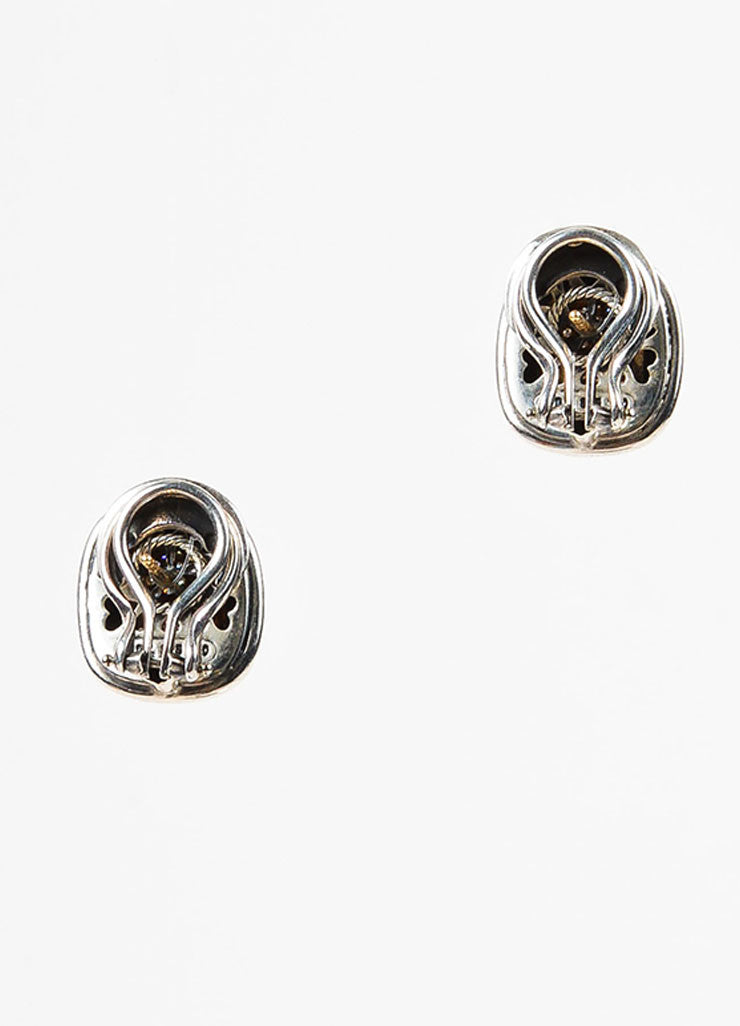 "David Yurman Sterling Silver 18K Gold Diamond ""Albion"" Cable Trim Earrings Backview"