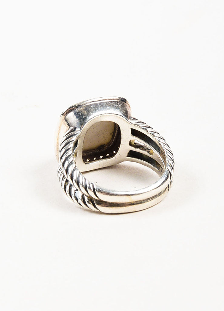 "David Yurman Sterling Silver, White Agate, and Pave Diamond ""Albion"" Ring Backview"