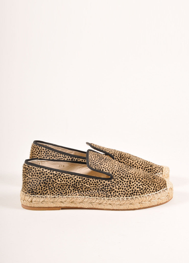 Elyse Walker New In Box Tan and Black Leopard Print Pony Hair Espadrille Flats Sideview