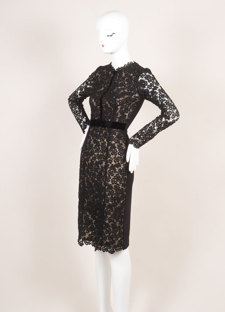 "Erdem New With Tags Black and Nude Eyelet Lace Velvet Trim ""Cherise"" Dress Sideview"