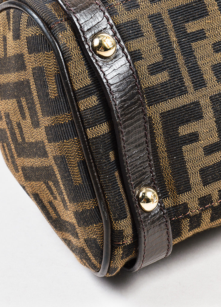 "Fendi ""Tobacco"" Brown Canvas Leather 'FF' Monogram ""Zucca Magic"" Satchel Bag Detail"