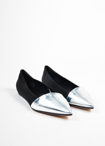 Giambattista Valli Black and Metallic Silver Satin and Leather Pointed Flats  Frontview
