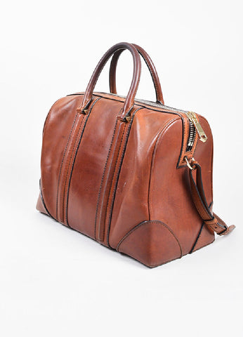 "Givenchy Brown Leather ""Large Lucrezia"" Zip Over Night Shoulder Bag Sideview"