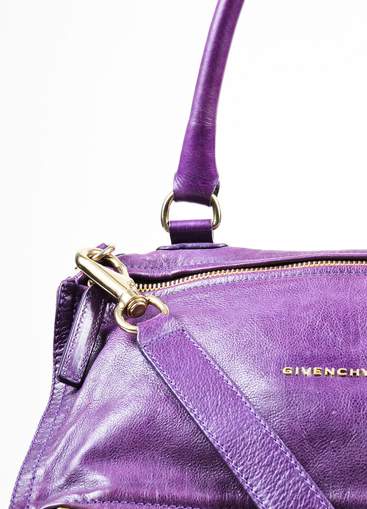 "Purple Leather Gold Toned Zip Givenchy ""Medium Pandora"" Messenger Bag Detail 2"