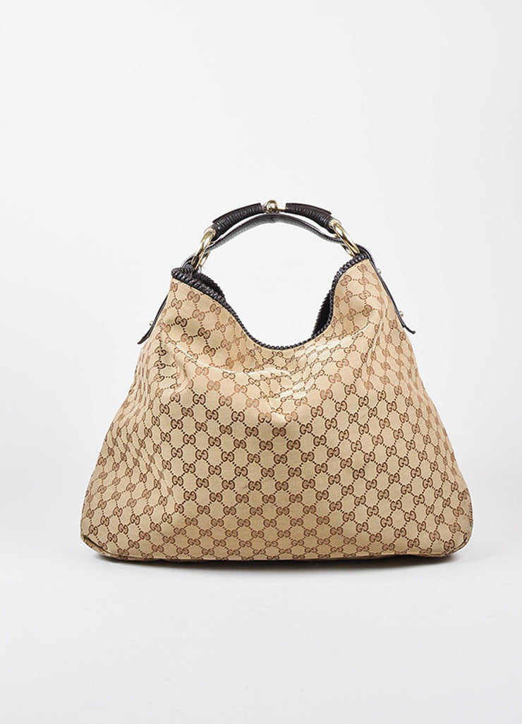 Gucci Brown Monogram Canvas Large Horsebit Hobo Bag Frontview