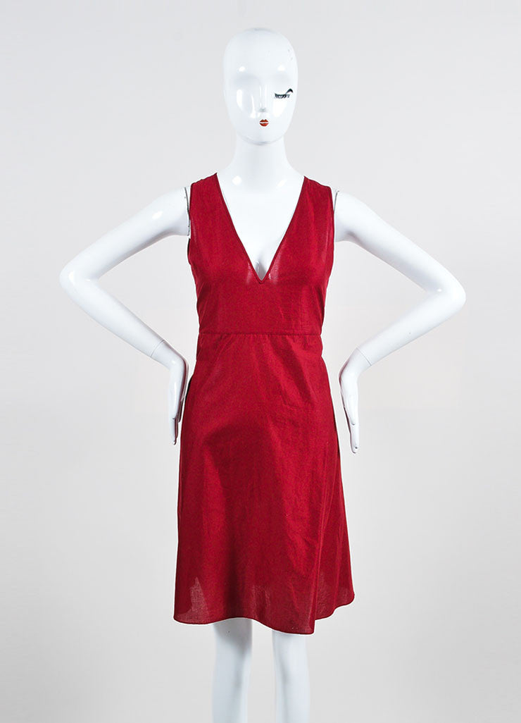 Cranberry Red Gucci Crotcheted Long Sleeve Laceup Dress Slip