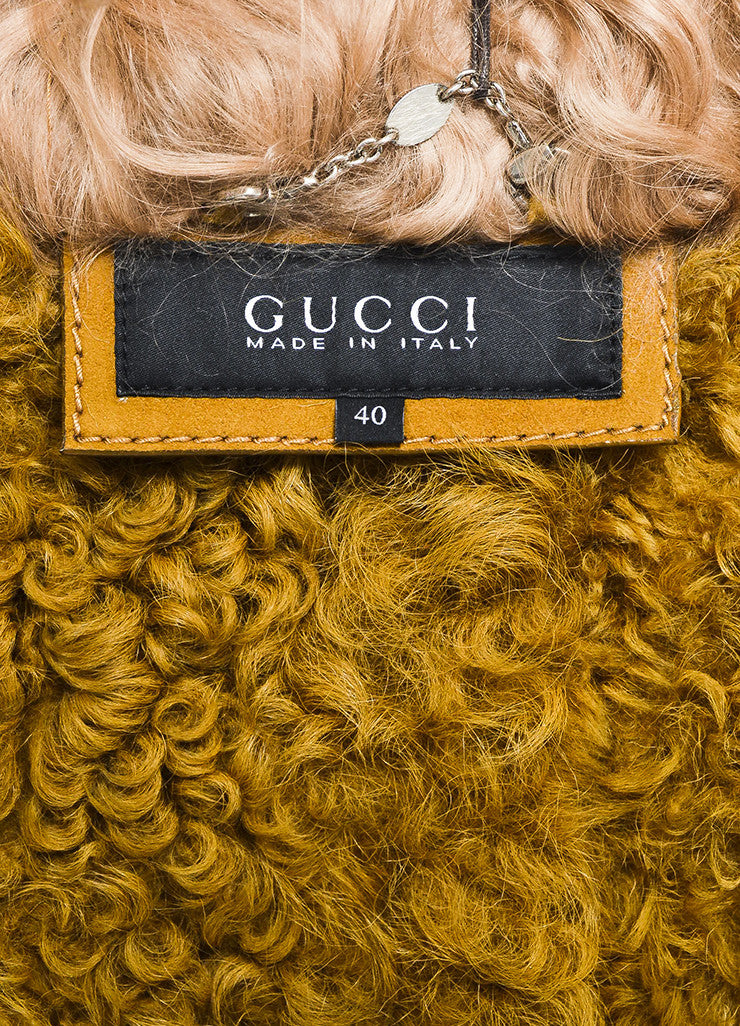 Tan Gucci Shearling Mongolian Fur Double Breasted Belted Coat Brand
