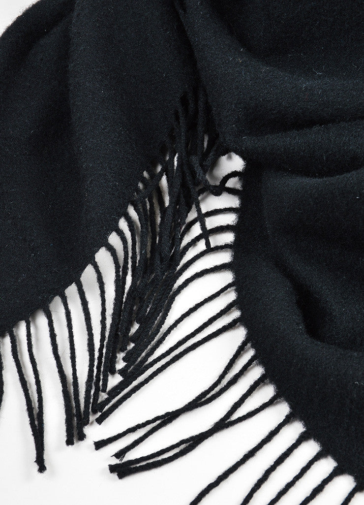 Black Hermes Cashmere and Wool Fringe Throw Blanket Detail