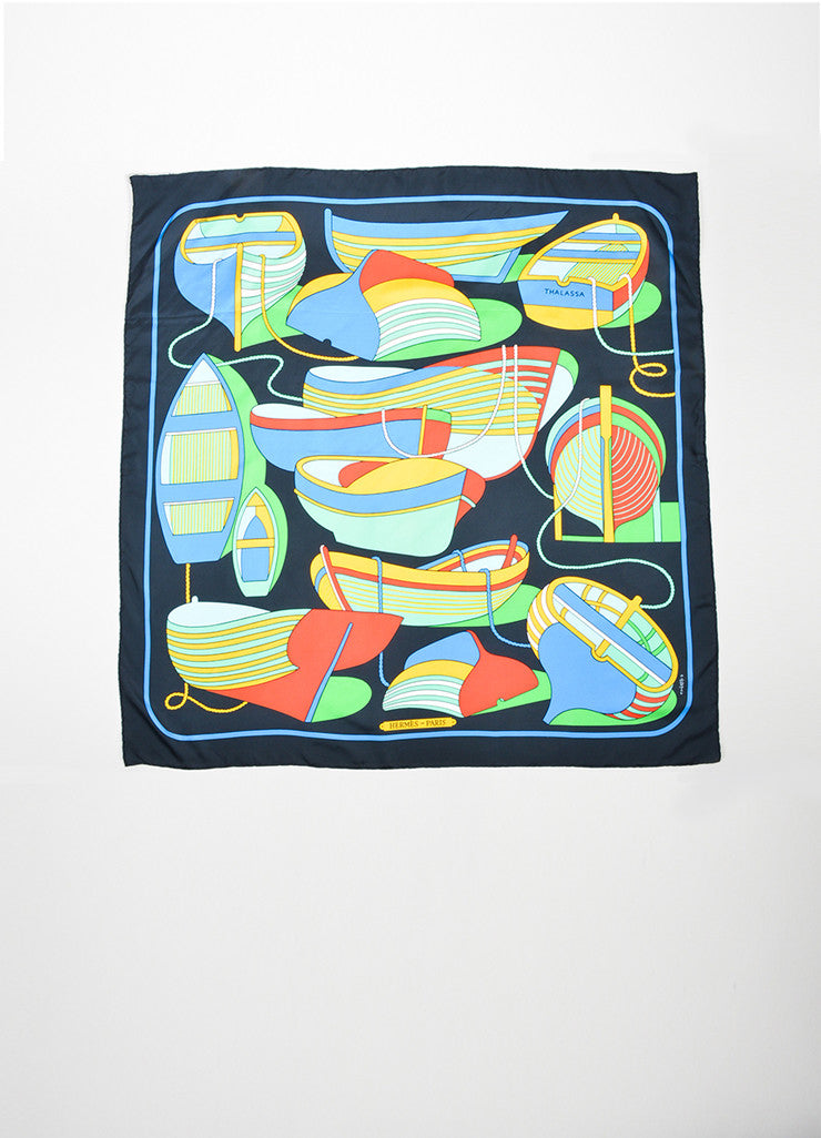 "Multicolor Hermes Silk Printed ""Thalassa"" Square Scarf Frontview 2"
