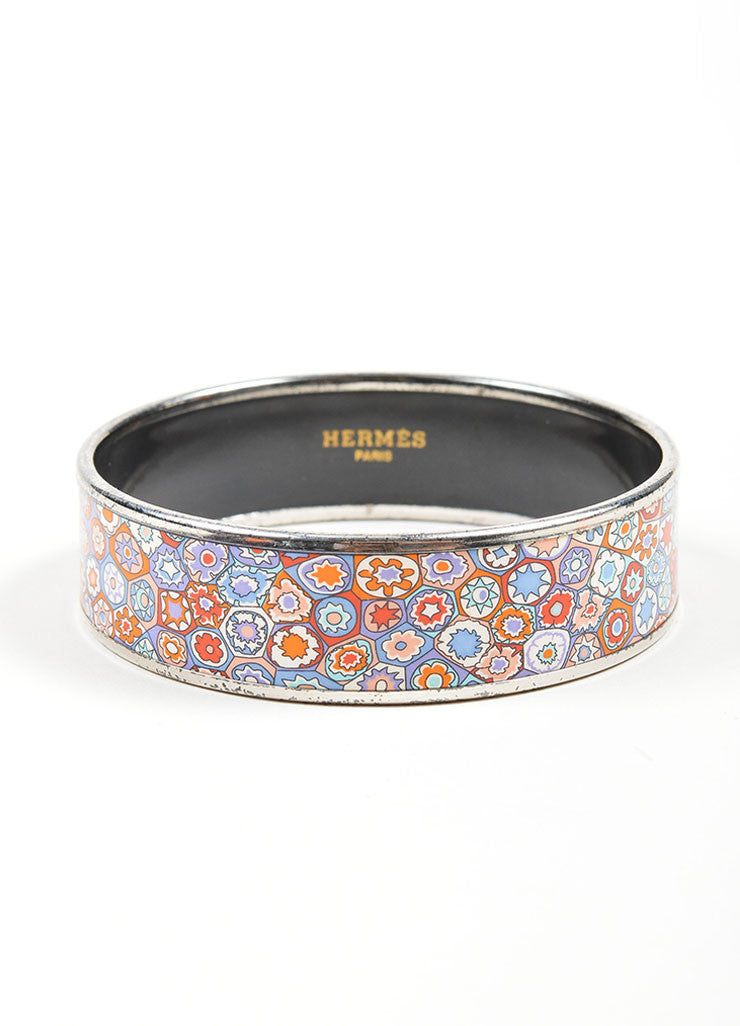 "Silver Toned and Multicolor Hermes Printed Enamel ""Millefiori"" Bangle Bracelet Frontview"