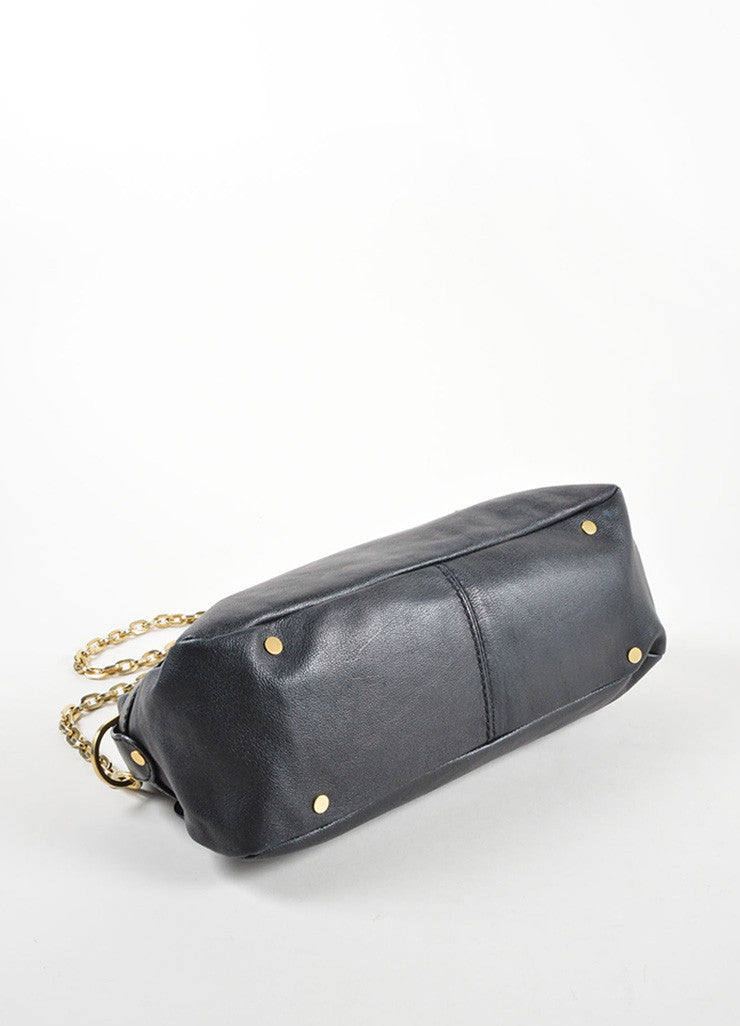 "Jimmy Choo Black Leather Chain Strap ""Thalma"" Shoulder Bag Bottom View"