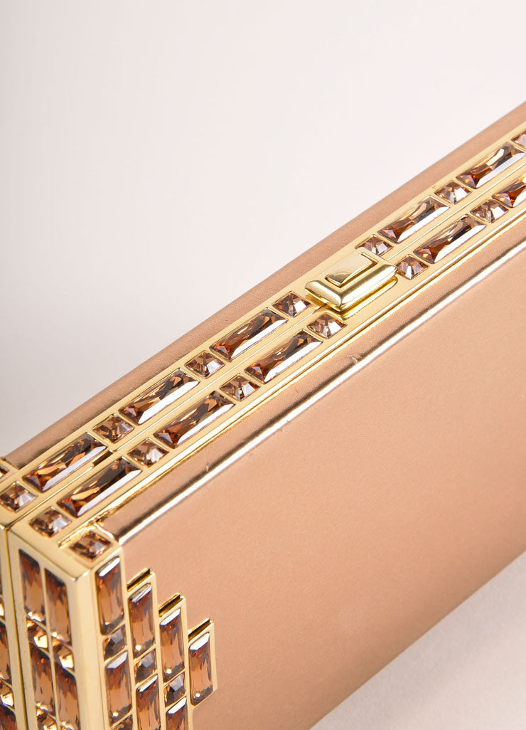 Judith Leiber Rose Gold Jewel Trim Rectangular Clutch Bag Detail 2