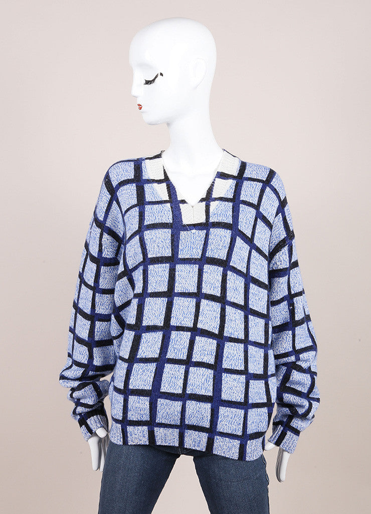 Kenzo New With Tags Blue and Black Wool and Cashmere Knit Windowpane V-Neck Sweater Frontview