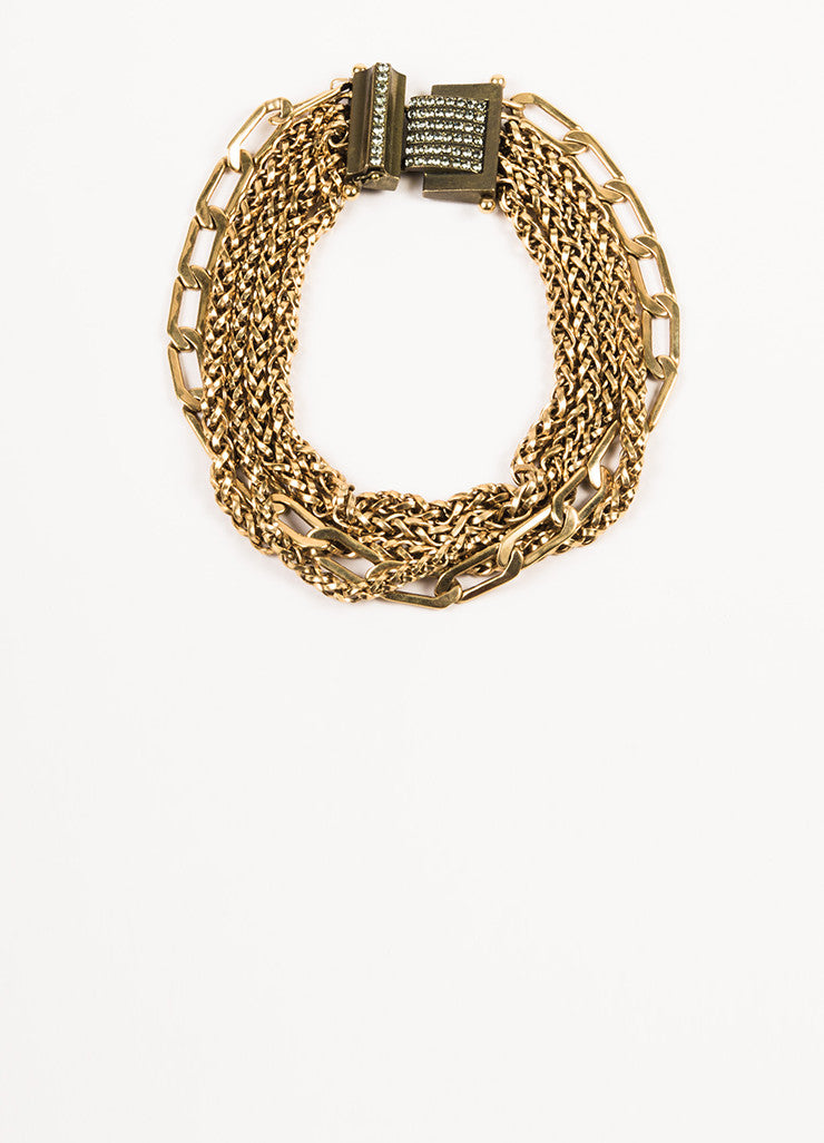 Lanvin Gold Toned Metal Multi Strand Chain Crystal Collar Necklace Front