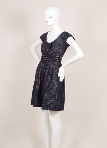 Lela Rose Black, White, and Navy Wool Blend Knit Woven Tweed Pleated Dress Sideview