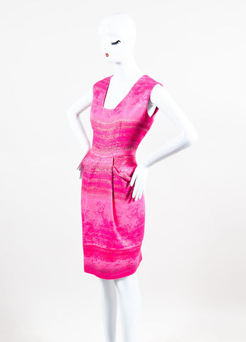 Neon Pink and Metallic Gold Lela Rose Cotton Blend Sleeveless Sheath Dress Sideview