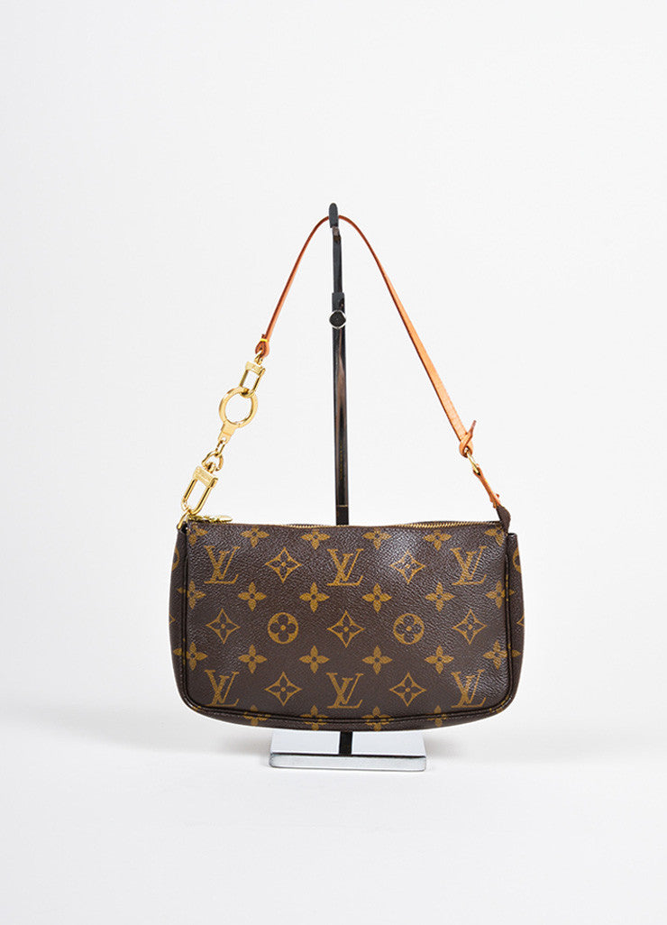 "Louis Vuitton Brown Coated Canvas Leather Trim Monogram ""Pochette NM"" Bag Frontview"