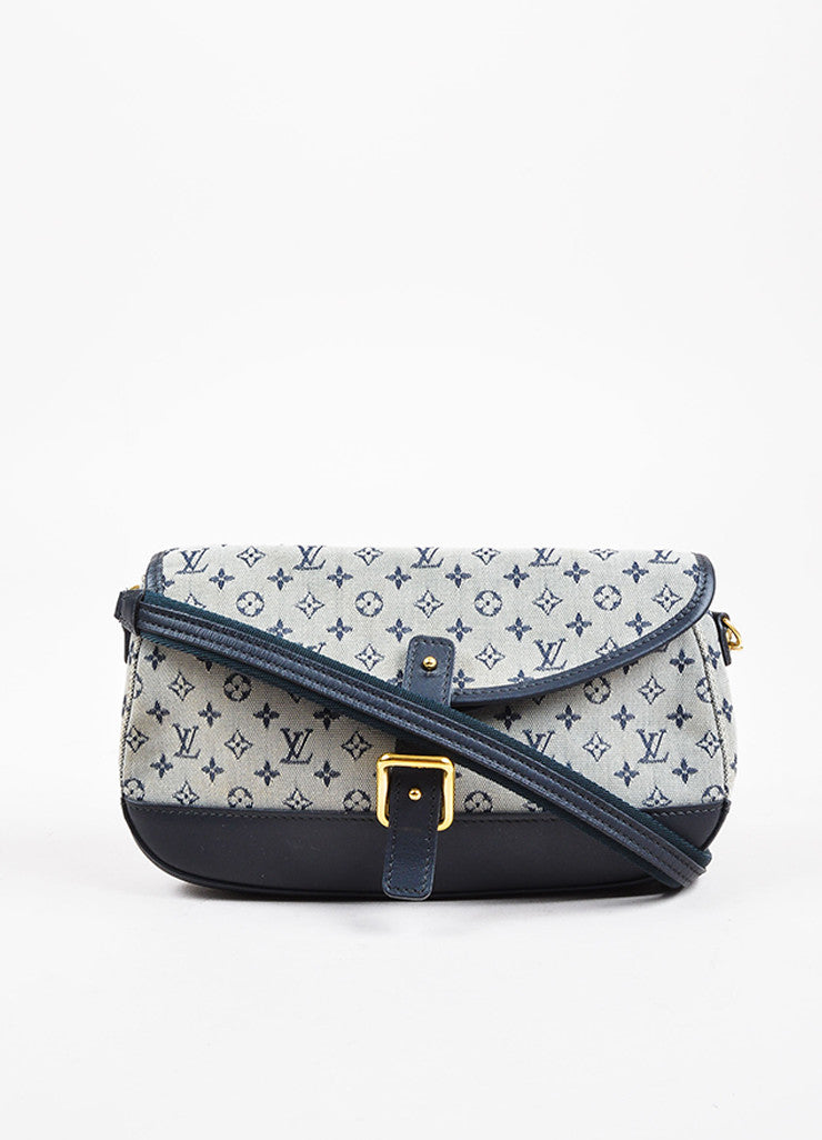 "Louis Vuitton Blue and Grey ""Mini Lin"" Canvas Monogram ""Marjorie"" Shoulder Bag Frontview"