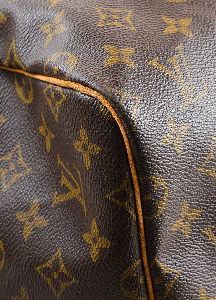 "Louis Vuitton Brown Canvas and Leather Monogram ""Keepall 55 Bandouliere"" Bag Detail"