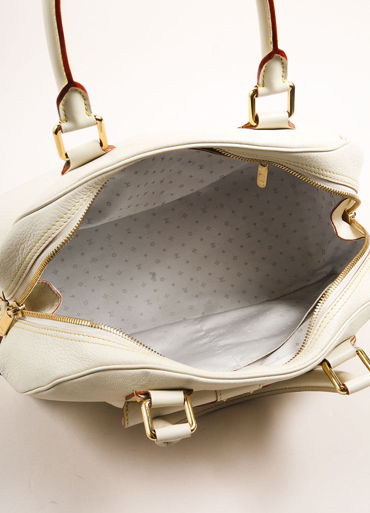 "Louis Vuitton Cream and Gold Toned Suhali Leather Studded ""Le Superbe"" Satchel Bag Interior"