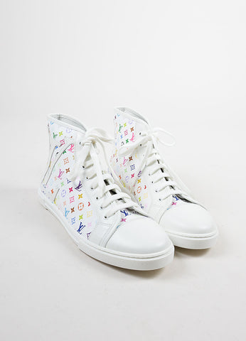 White and Multicolor Louis Vuitton Canvas and Leather Monogram Sneakers Frontview