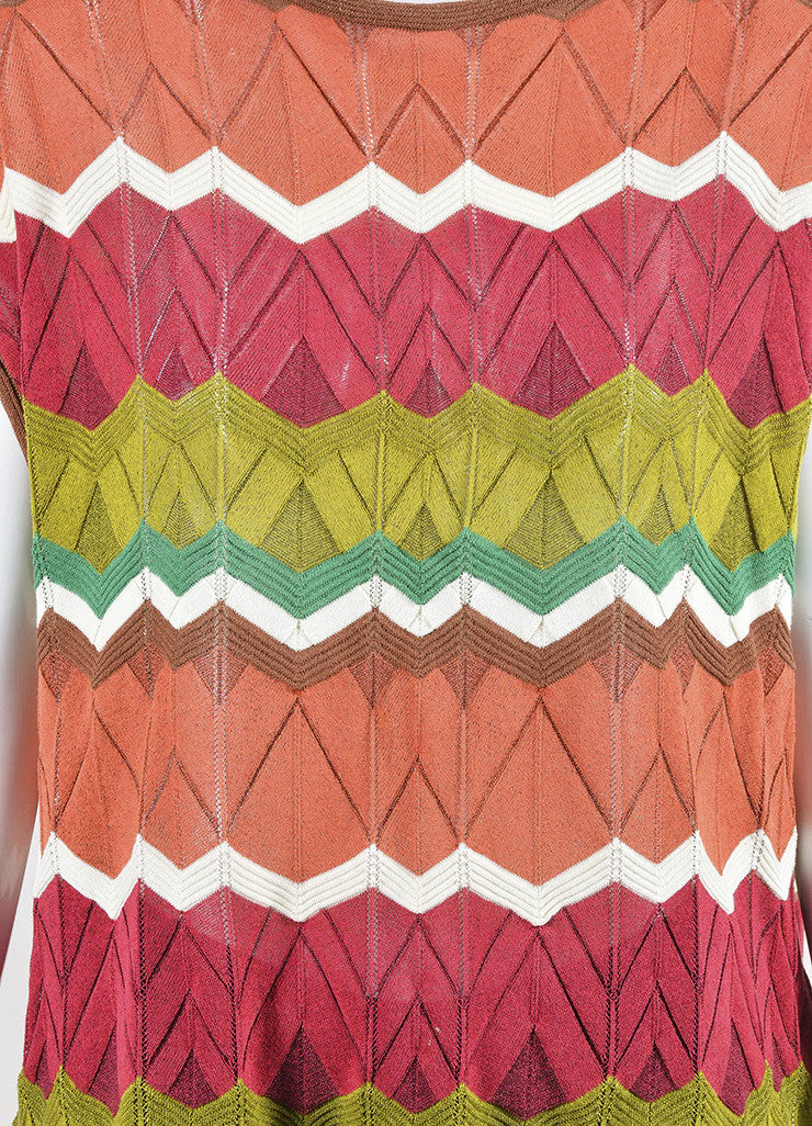 Multicolor M Missoni Cotton Blend Knit Zig Zag Sleeveless Top Detail