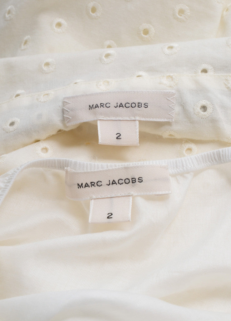 Marc Jacobs New With Tags Cream and Black Ribbon Tie Cropped Cotton Eyelet Blouse Brand