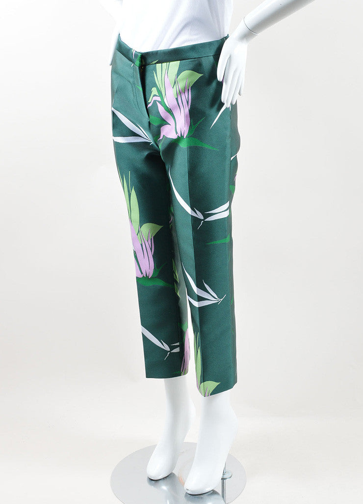 Marni Green and Multicolor Floral Silk Jacquard Ankle Pants Sideview