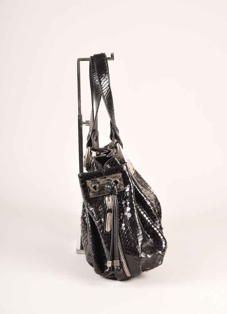 Michael Kors Collection Black Snakeskin Handbag Sideview