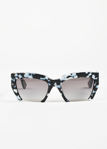 "Miu Miu Black and White Havana Rimless ""Rasoir"" Cateye Sunglasses Frontview"