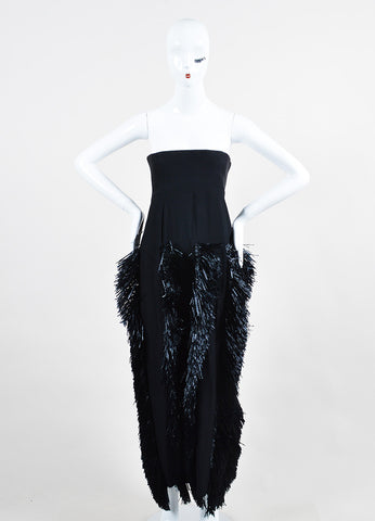 Moschino Black Raffia Fringe Full Length Strapless Dress Frontview