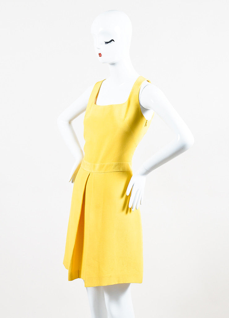 Yellow Moschino Cheap and Chic Cotton Blend Pleated Sleeveless Dress Front
