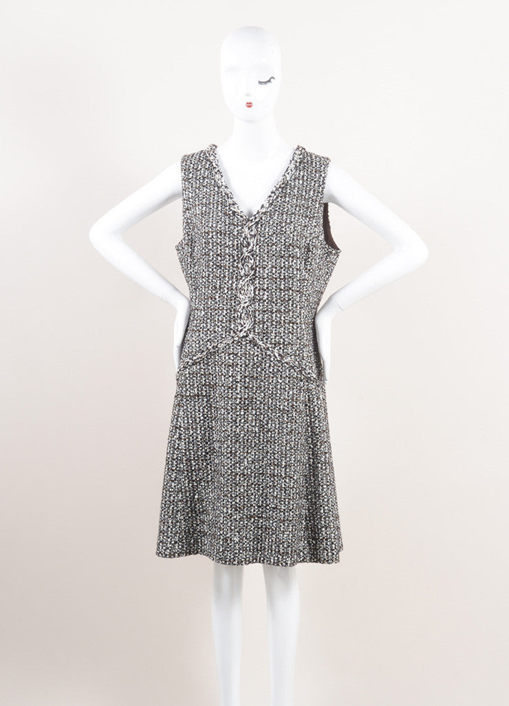 Oscar de la Renta New With Tags Brown and Cream Wool Blend Tweed Sleeveless V-Neck Dress Frontview