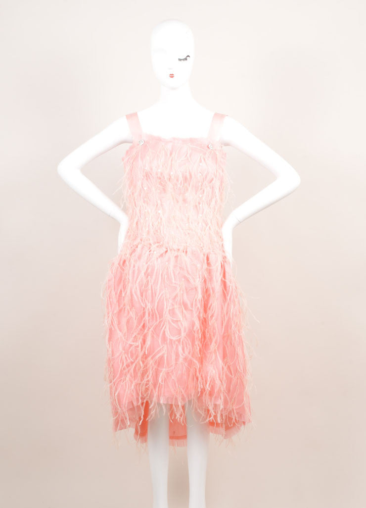 Oscar de la Renta New With Tags Light Pink Silk Woven Feather Sequin Dress Frontview