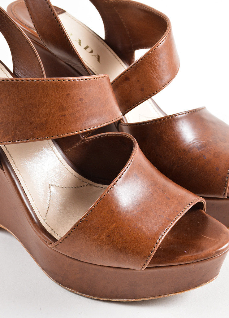 Prada Brown Leather Cut Out Strappy Platform Wedge Sandals Detail