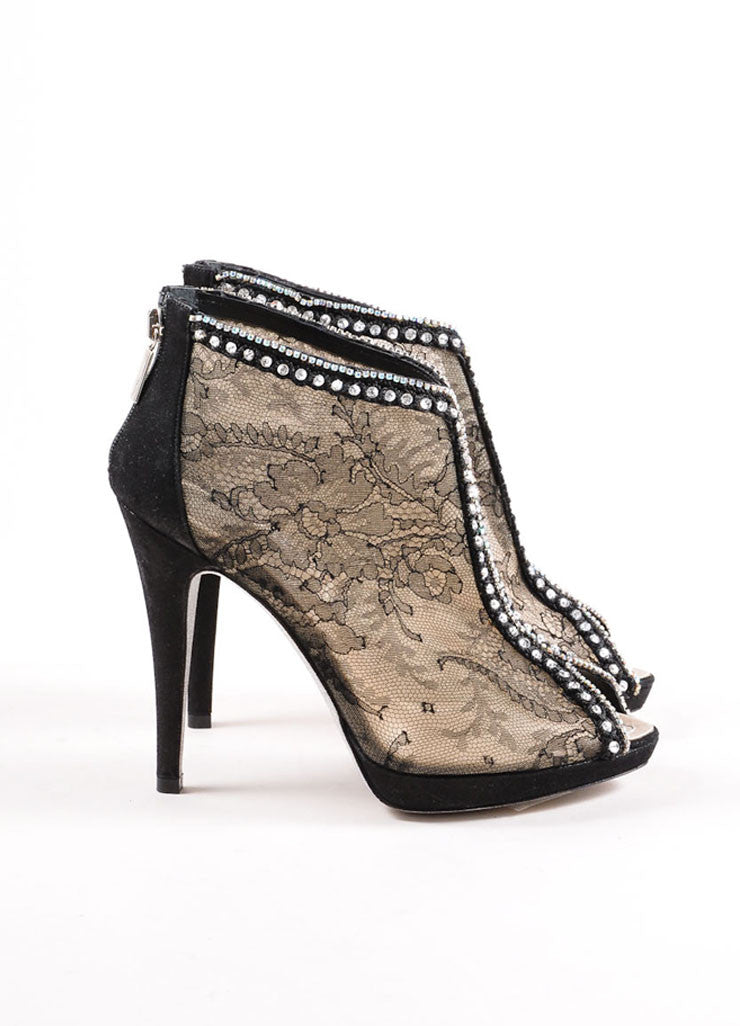 Rene Caovilla Black and Nude Sheer Floral Lace Rhinestone Embellished Booties Sideview