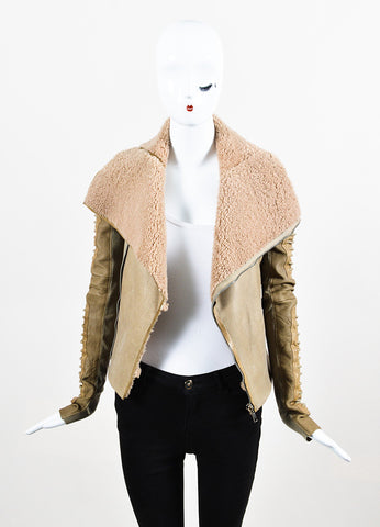 "Rick Owens ""Camel"" Tan Shearling Leather Zip Front Moto Jacket Frontview"